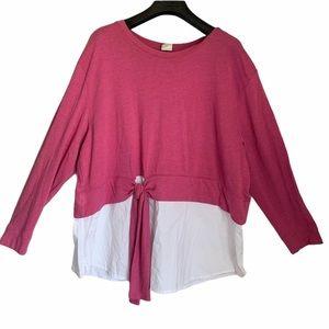 D/C jeans pink long sleeve mid tie top plus